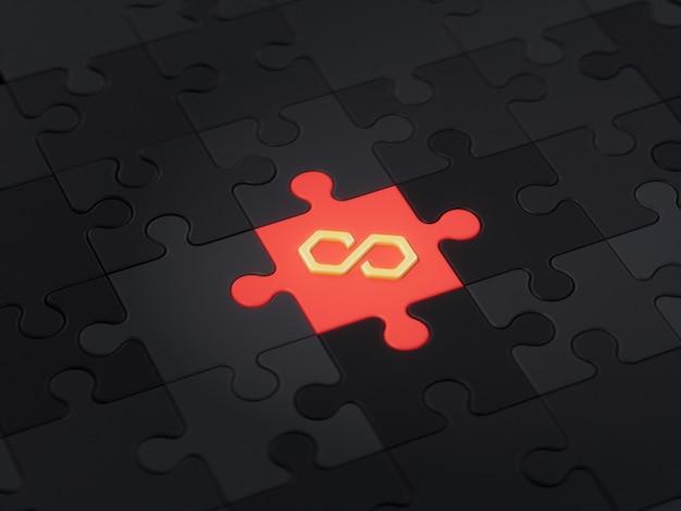 Veelhoek matic verschillende unieke puzzelstukje crypto valuta 3d illustratie concept render