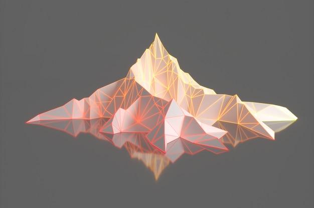 Veelhoekbeeld van bergpieken met een gloeiende backlit 3d illustratie