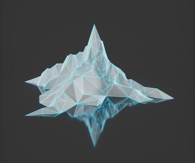 Veelhoekbeeld van bergtoppen met een gloeiende verlichte 3d-afbeelding