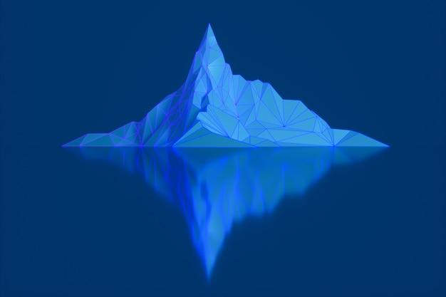 Veelhoekbeeld van bergtoppen met een gloeiende verlichte 3d illustratie