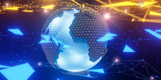 Veelhoekige 3d-wereldbol met wereldwijde lijnverbindingen., wereldwijd sociaal netwerk., 3d-model en illustratie.