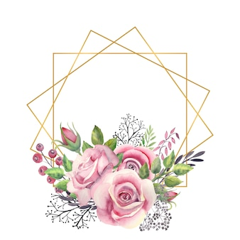 Veelhoekige gouden frame met een aquarel bloemen