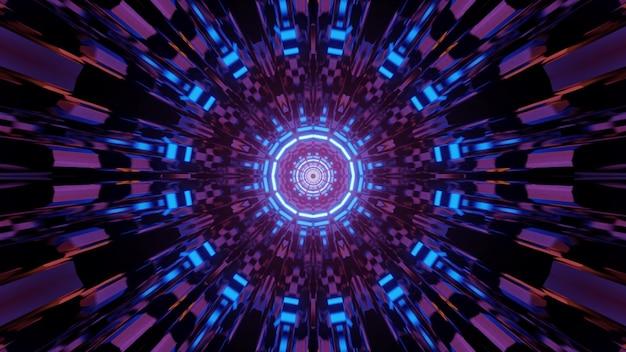 Veelkleurige 3d illustratie van abstracte futuristische achtergrond met ronde caleidoscoop ornament en neonlichten creëren optische illusie van eindeloze tunnel