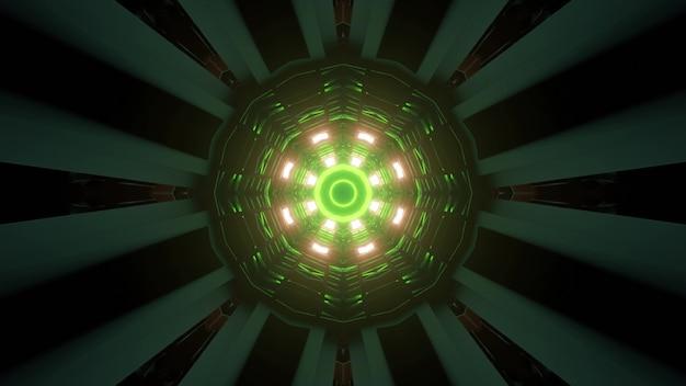 Veelkleurige abstracte patroon vormen 3d illustratie achtergrond van gang met felle neonverlichting
