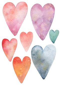 Veelkleurige (blauwe, roze, oranje, rode) harten uit aquarellen van verschillende maten