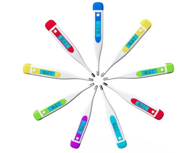Veelkleurige digitale koortsthermometers op een witte achtergrond