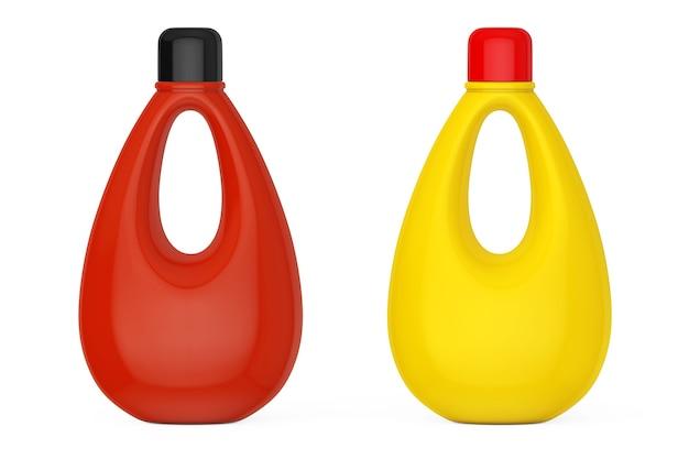 Veelkleurige lege plastic flessen voor bleekmiddel, vloeibaar wasmiddel of wasverzachter op een witte achtergrond. 3d-rendering.