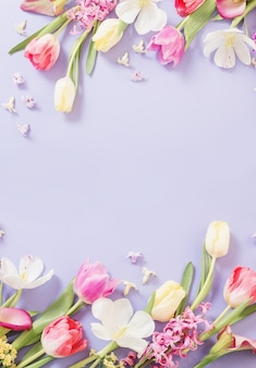 Veelkleurige lentebloemen op paarse achtergrond