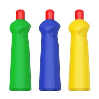 Veelkleurige plastic flessen voor vloeibaar wasmiddel op een witte achtergrond. 3d-rendering.