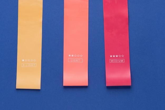 Veelkleurige rubberen oefenband
