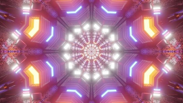 Veelkleurige symmetrische tunnel met caleidoscopisch ornament glinsterend met felle neonlichten 4k uhd 3d-afbeelding