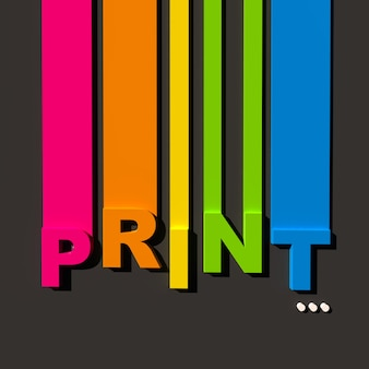 Veelkleurige teken op zwarte ondergrond met het woord print