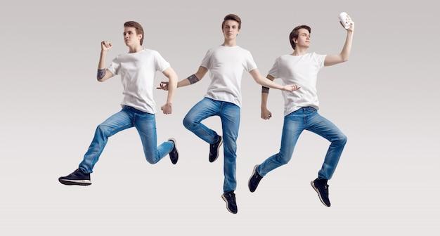 Veelvoudig portret van springende knappe mannen
