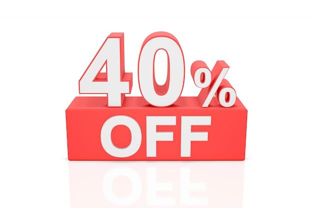 Veertig procent korting. verkoop banner. 3d-weergave