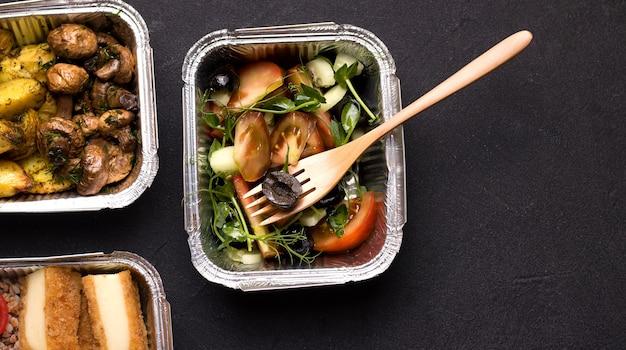 Veganistisch eten levering concept