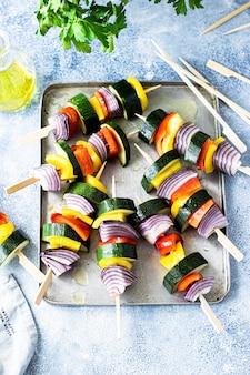 Veganistische gegrilde groentespiesjes receptidee
