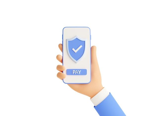 Veilig online betalen 3d render illustratie met menselijke hand met mobiele telefoon met schild en betaalknop op touchscreen geïsoleerd op wit. succesvol geldoverdrachtteken op smartphone ter beschikking.