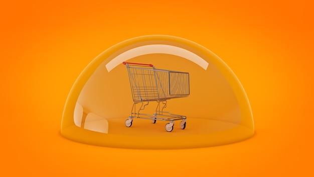 Veilig winkelconcept winkelwagen 3d-rendering