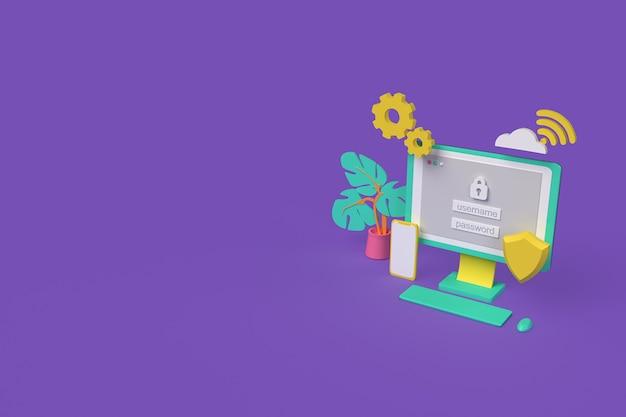 Veilige inlogverbinding en privacybescherming. vpn-serviceconcept. beveiliging, bescherming van persoonsgegevens. 3d-rendering illustratie