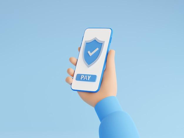 Veilige online betaling 3d render illustratie met hand met mobiele telefoon met schild en betaalknop op touchscreen. succesvol geldoverdrachtteken op smartphone in menselijke hand in sweater.