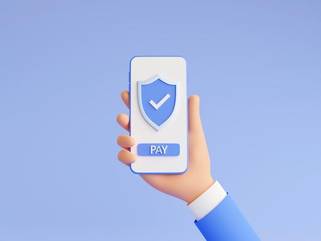 Veilige online betaling 3d render illustratie met menselijke hand met mobiele telefoon met schild en betaalknop op touchscreen. succesvol geldoverdrachtteken op smartphone in mensenhand.