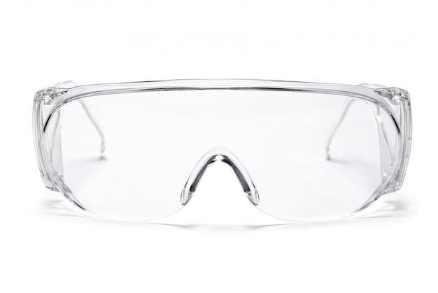 Veiligheidsbril bril glazen op witte tafel met uitknippad