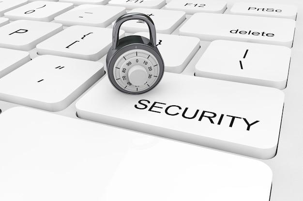Veiligheidsconcept. extreem close-up chromen hangslot op een toetsenbord
