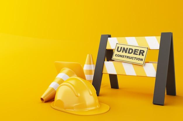 Veiligheidshelm en verkeerskegel op oranje achtergrond. in aanbouw concept. 3d illustratie.