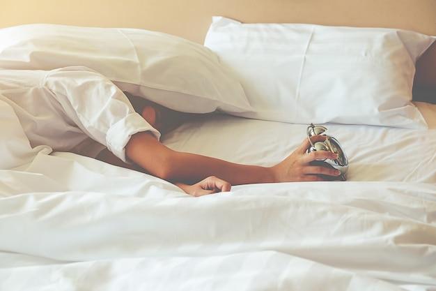 Veld slaap lui binnen ochtend dutten