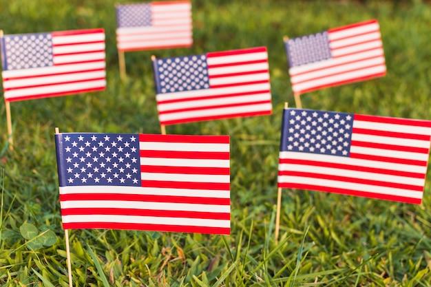 Vele amerikaanse vlaggen van de vs op groen gras