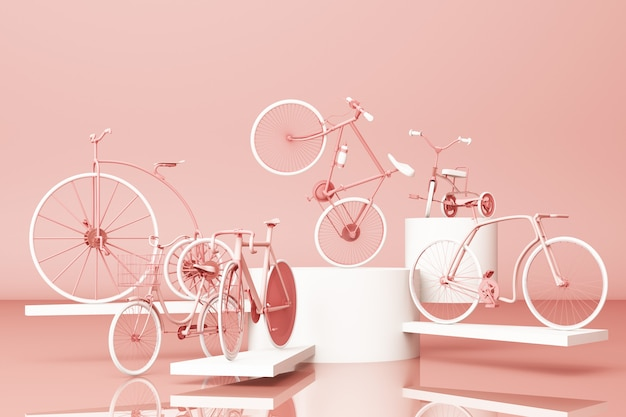 Velen fietsen op platform met het roze retro fiets 3d teruggeven