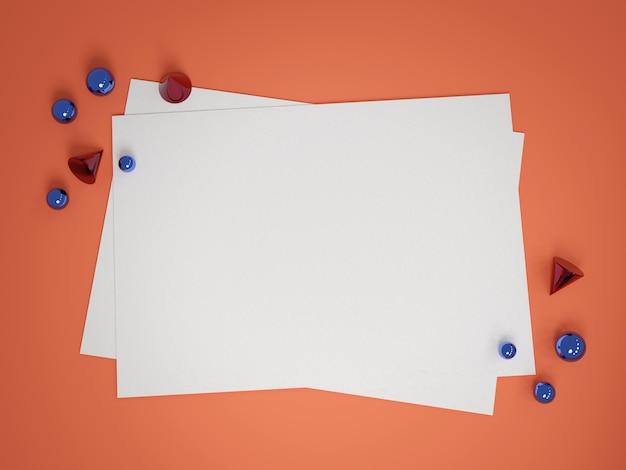 Vellen papier op koraal kleurentafel, metalen geometrische vormen, 3d render