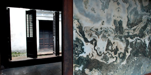 Venster van een huis, zhouzhuang, jiangsu province, china