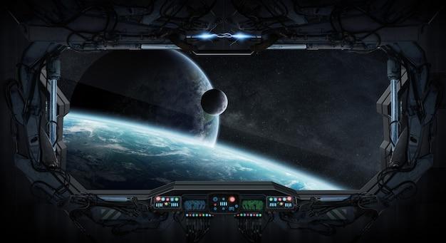 Vensterweergave van ruimte en planeten vanuit een ruimtestation