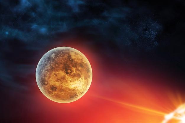 Venusplaneet in kosmische ruimte dichtbij zon