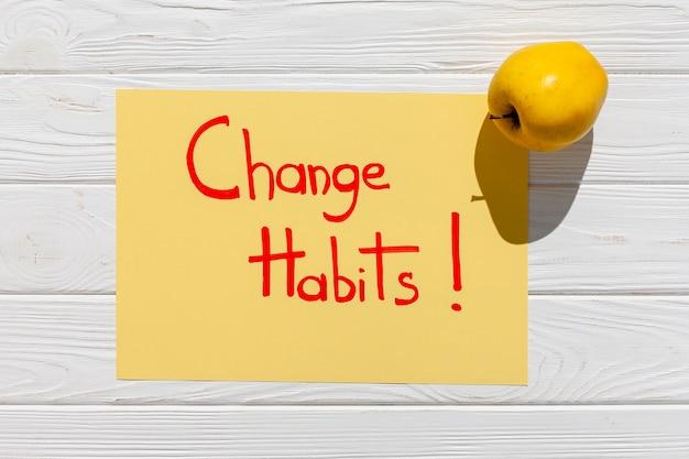 Verander de gewoonte-boodschap met appel
