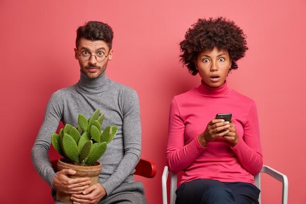Verbaasd geschokt afro-amerikaanse vrouw gebruikt mobiele telefoon en leest nieuws online staart afgeluisterde ogen zich afgevraagd man poseert dichtbij op stoel met cactuspot op handen. sex tussen verschillendre rassen paar binnen over roze muur