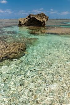 Verbazingwekkende kristallijne smaragdgroene zee, zichtbare stenen onder water in een natuurlijk zeezwembad. kust rotsformatie.