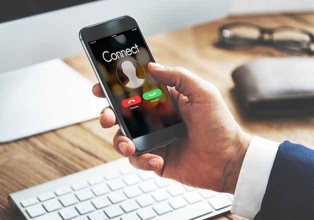 Verbind inkomende oproep communicatieconcept