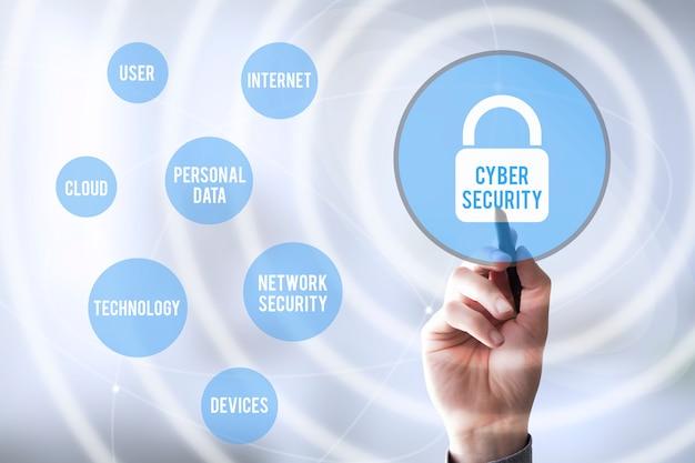 Verbindingen pen raken cyberbeveiliging