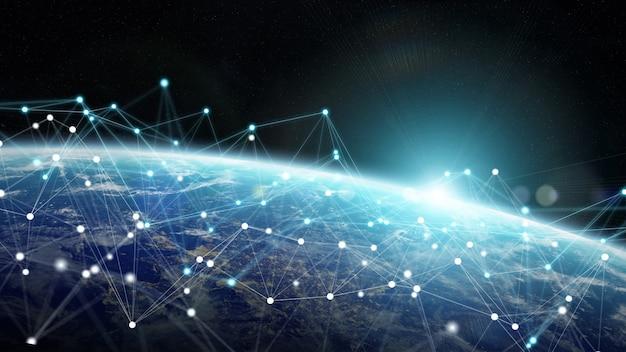 Verbindingssysteem en gegevensuitwisselingen bij 3d-weergave op aarde