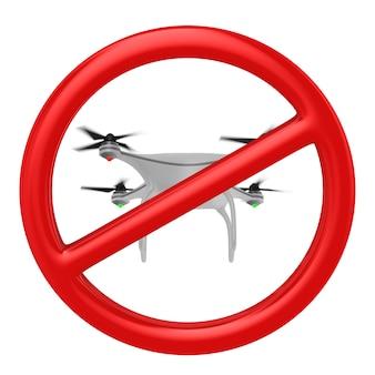 Verbod vluchten drone. geïsoleerde 3d-weergave