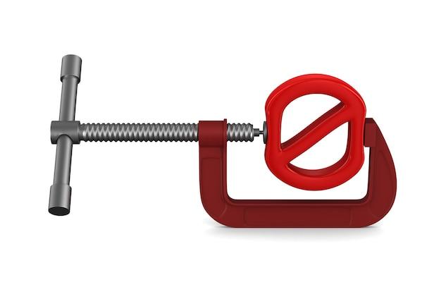 Verboden teken en klem. geïsoleerde 3d-weergave