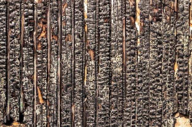 Verbrand houten hek. de textuur van de verkoolde houten planken.