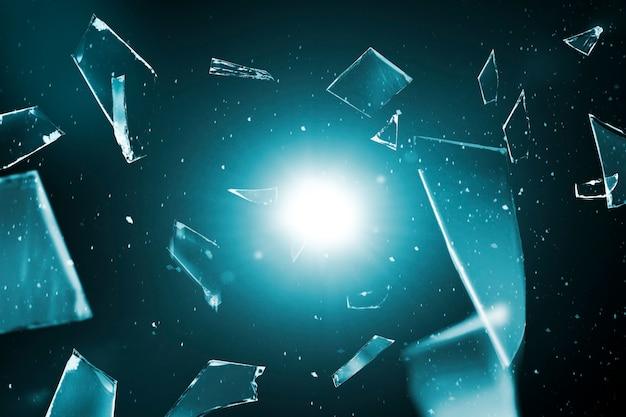Verbrijzeld glas op ruimteachtergrond met ontwerpruimte