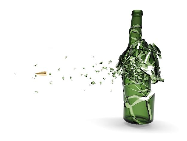 Verbrijzelde groene bierfles door kogel