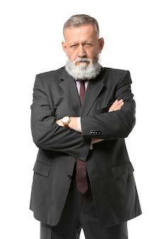 Verdachte rijpe zakenman op wit