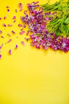 Verdorde bloemen achtergrond. verdorde tulpen op een gele achtergrond. hoge kwaliteit foto