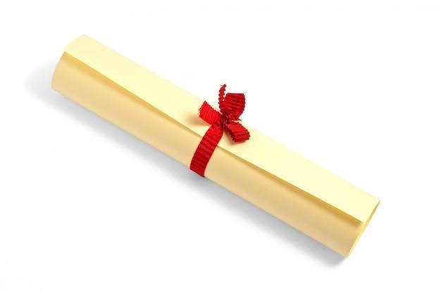 Verdraaid diploma met lint dat op wit wordt geïsoleerd