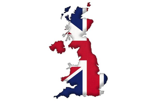 Verenigd koninkrijk van groot-brittannië, grenssilhouet met nationale vlag met exemplaarruimte.